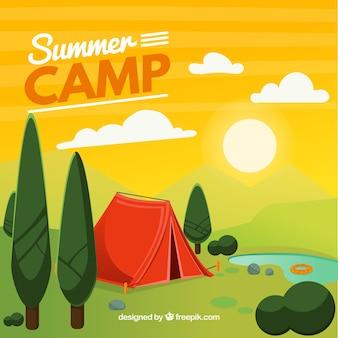 Fond de camp d'été dans le style 2d