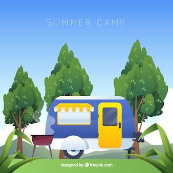 Fond de camp d'été en design plat
