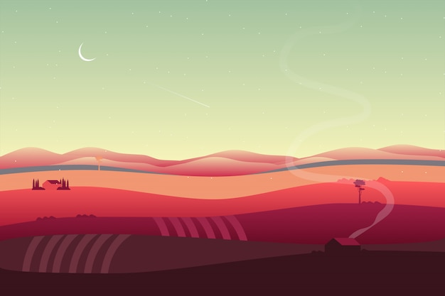 Fond de campagne avec paysage de vallée et de colline