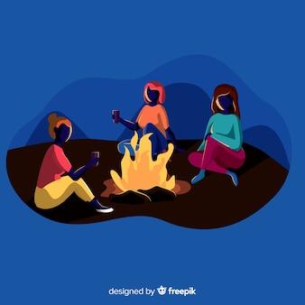 Fond de camping filles