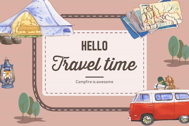 Fond de camping avec illustrations de tente, van, carte, bouilloire et sac à dos.