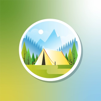 Fond de camping en plein air le matin