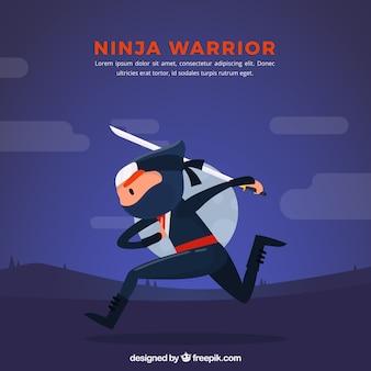 Fond de caractère ninja avec un design plat