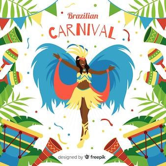 Fond de carnaval danseuse brésilienne
