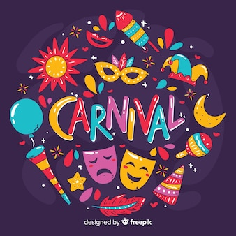 Fond de carnaval dessiné à la main