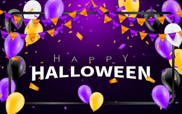 Fond de carnaval d'halloween heureux. guirlande de drapeaux violet orange, concept de confettis pour la fête. fête