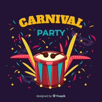 Fond de carnaval tambour dessiné à la main