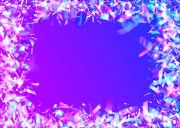 Fond de carnaval. texture d'anniversaire. tinsel irisé. feuille de licorne. arrière-plan flou vaporwave. bleu disco sparkles. conception de métal. art scintillant. fond de carnaval violet
