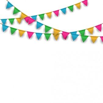 Fond de carnaval de vecteur avec des guirlandes de drapeau suspendus