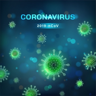 Fond carré de coronavirus. cellule virale en vue microscopique
