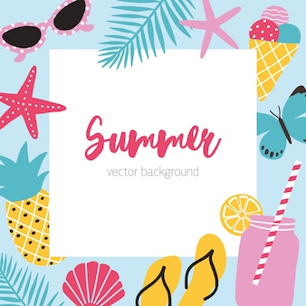 Fond carré de couleur vive avec attributs d'été et place pour le texte au centre. monture décorée de fruits frais, lunettes de soleil, cocktail et feuilles tropicales. illustration saisonnière