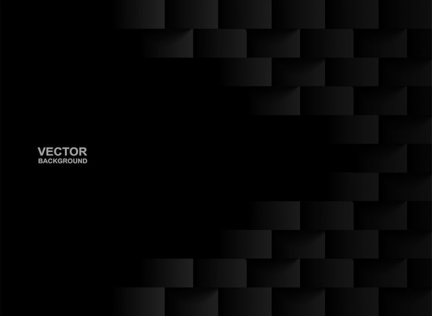 Fond carré géométrique en relief noir.