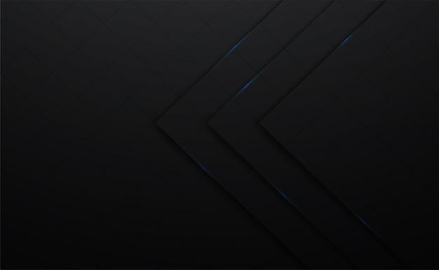 Fond carré de vecteur 3d noir et ligne