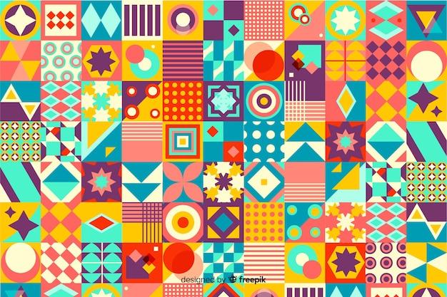 Fond de carreaux de mosaïque géométrique coloré