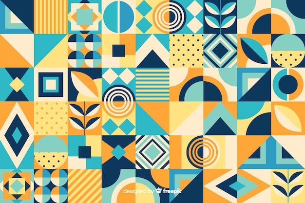 Fond de carreaux de mosaïque géométrique plat