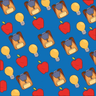 Fond de cartables avec des pommes et des ampoules