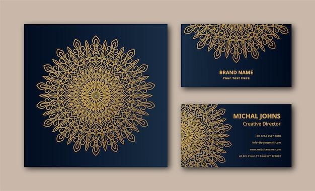 Fond de carte d'affaires de conception de mandala ornemental de luxe