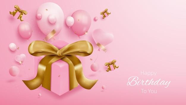 Fond de carte d'anniversaire avec boîte-cadeau, ballons et ruban d'or. style réaliste de luxe 3d sur fond rose. illustration vectorielle créative pour la conception.