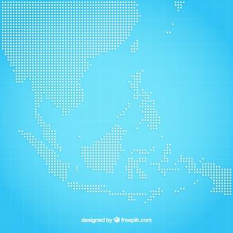 Fond de carte de l'asie avec des points