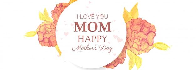 Fond de carte belle bannière heureuse fête des mères