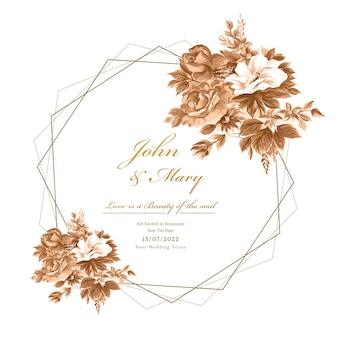 Fond de carte de cadre de fleurs décoratives de mariage