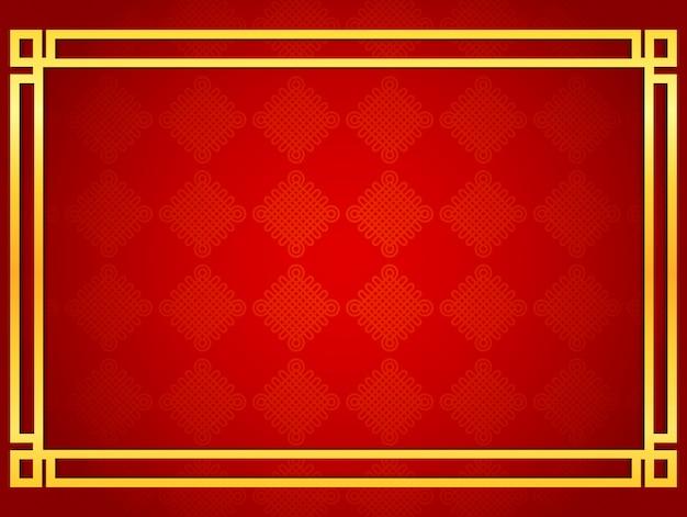 Fond de carte chinoise vierge avec des cadres de ligne dorée