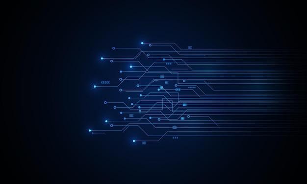 Fond de carte de circuit imprimé de technologie abstraite avec effet de lumière bleue