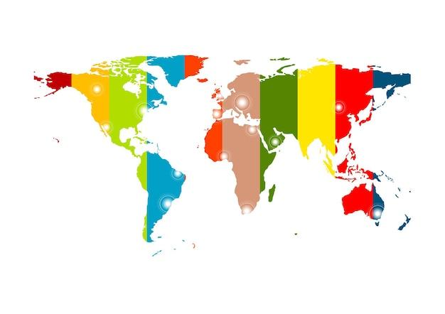 Fond de carte du monde abstrait coloré. conception de vecteur
