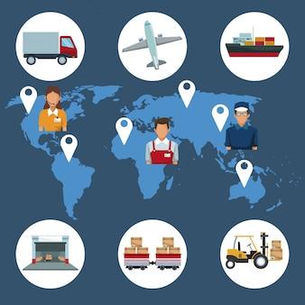 Fond de carte du monde avec la logistique des icônes et l'emplacement des personnes