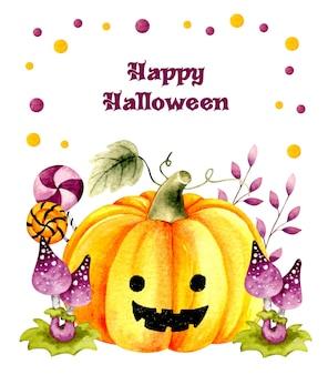 Fond de carte halloween joyeux aquarelle