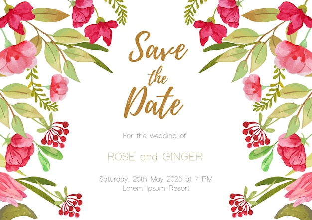 Fond de carte d'invitation de mariage thème floral