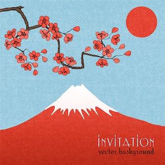 Fond de carte d'invitation de sakura ou affiche