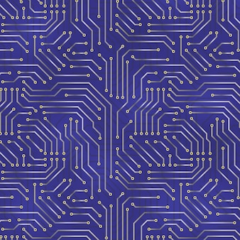 Fond de carte mère d'ordinateur avec des éléments électroniques de carte de circuit imprimé.