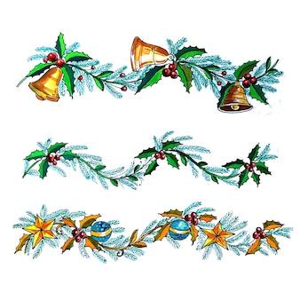 Fond de carte de noël décoratif guirlande de noël