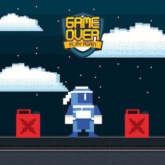 Fond de carte de personnage d'arcade de jeux vidéo rétro