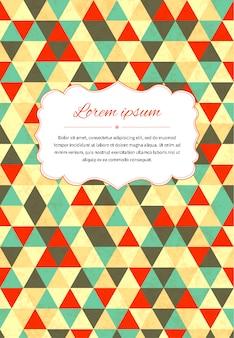 Fond de carte rétro avec de nombreux triangles et modèle de texte, illustration de taille a4