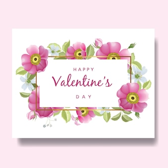 Fond de carte romantique joyeux saint valentin avec des fleurs