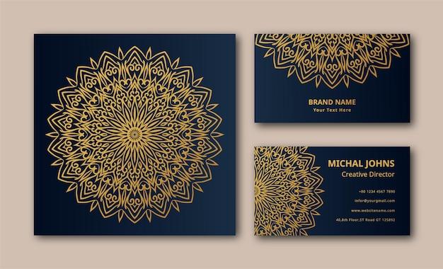 Fond de carte de visite de luxe mandala eps
