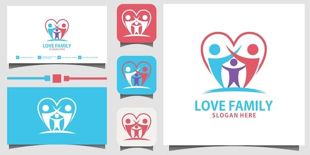 Fond de carte de visite de modèle de vecteur de conception de logo de bonheur familial