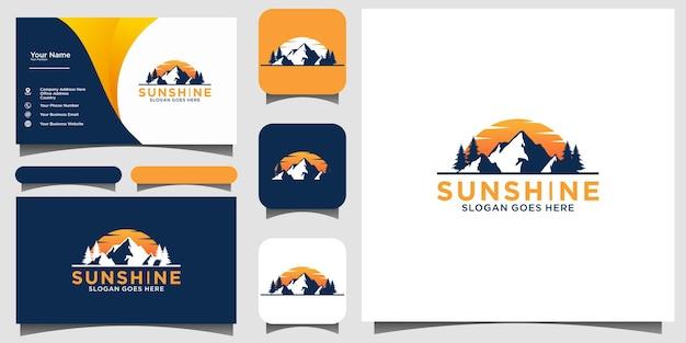 Fond de carte de visite de modèle de vecteur de conception de logo de montagne