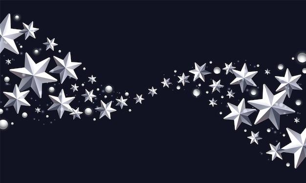 Fond de carte de voeux de noël avec bordure faite d'étoiles métalliques argentées sur fond noir