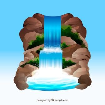 Fond de cascade en style cartoon