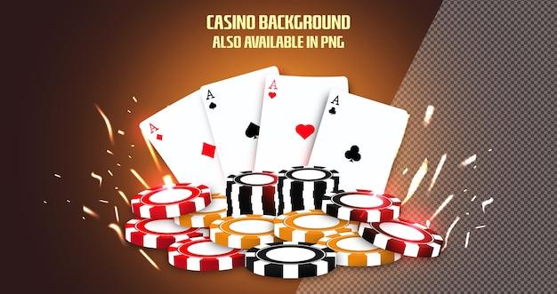 Fond de casino en ligne avec des jetons de cartes à jouer