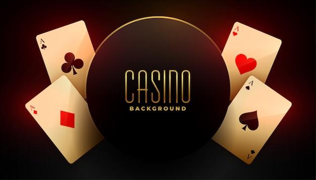 Fond de casino avec quatre cartes à jouer as