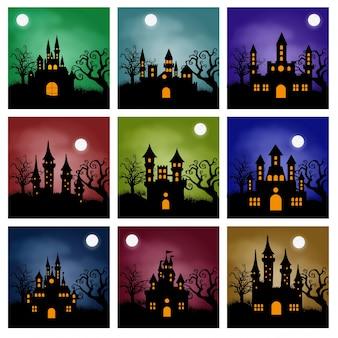 Fond de castel de halloween avec citrouille, maison hantée et pleine lune.