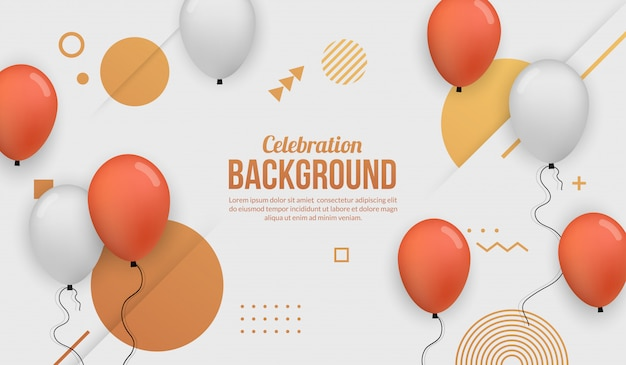 Fond de célébration avec ballon réaliste pour fête d'anniversaire, remise des diplômes, événement et vacances