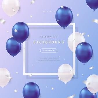 Fond de célébration avec des ballons réalistes aux couleurs douces