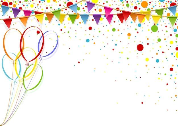 Fond de célébration colorée avec des ballons de fête et des confettis