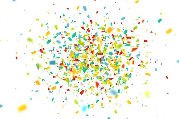 Fond de célébration avec des confettis colorés mouche