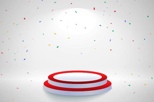 Fond de célébration avec des confettis tombant et podium